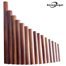 Panela flauta 15 tubos de bambu natural, instrumento de sopro flauta xiao artesanal flauta de panela dobrável instrumentos musicais