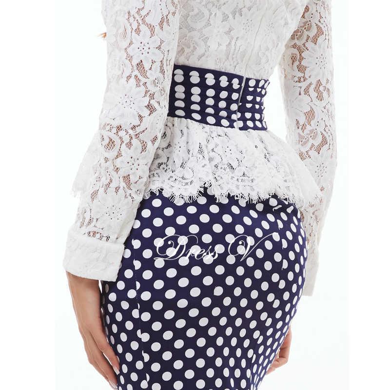 Dressv 2019 Polka Dot sereia vestido de noite branco longo mangas do pescoço da colher lace trumpet vestido de noite formal do partido do baile de finalistas do vestido
