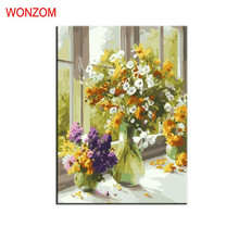 frameless Blooming flowers vase DIY digital painting by numbers kits acrylic color drawing for living room cheap