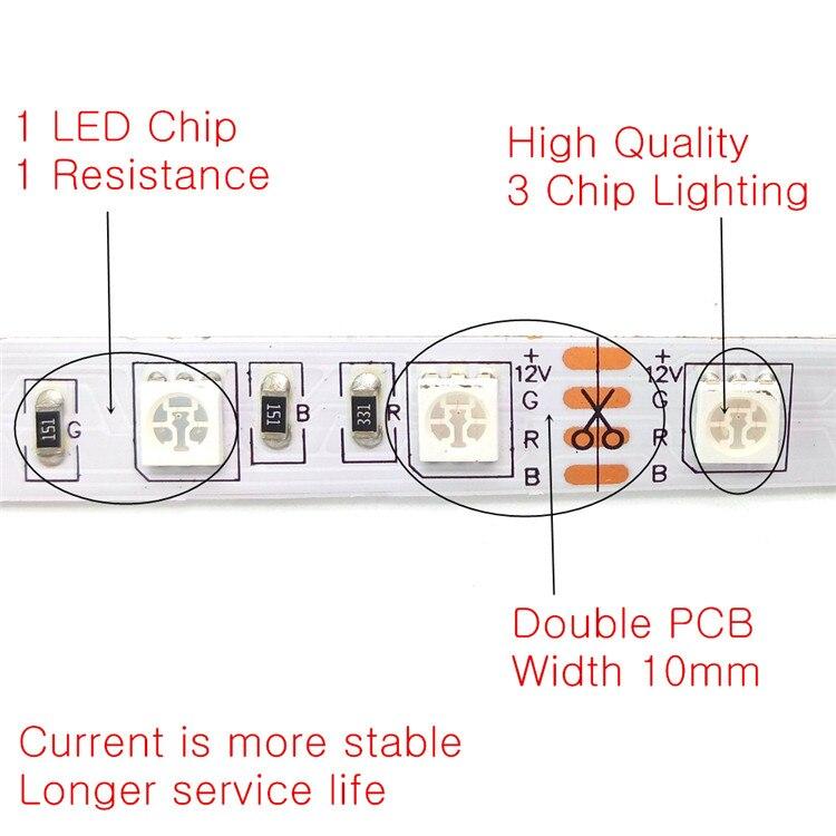 10M LED Strip Set SMD 5050 RGB 600LED Pita Fleksibel Lampu Hiasan - Pencahayaan LED - Foto 3