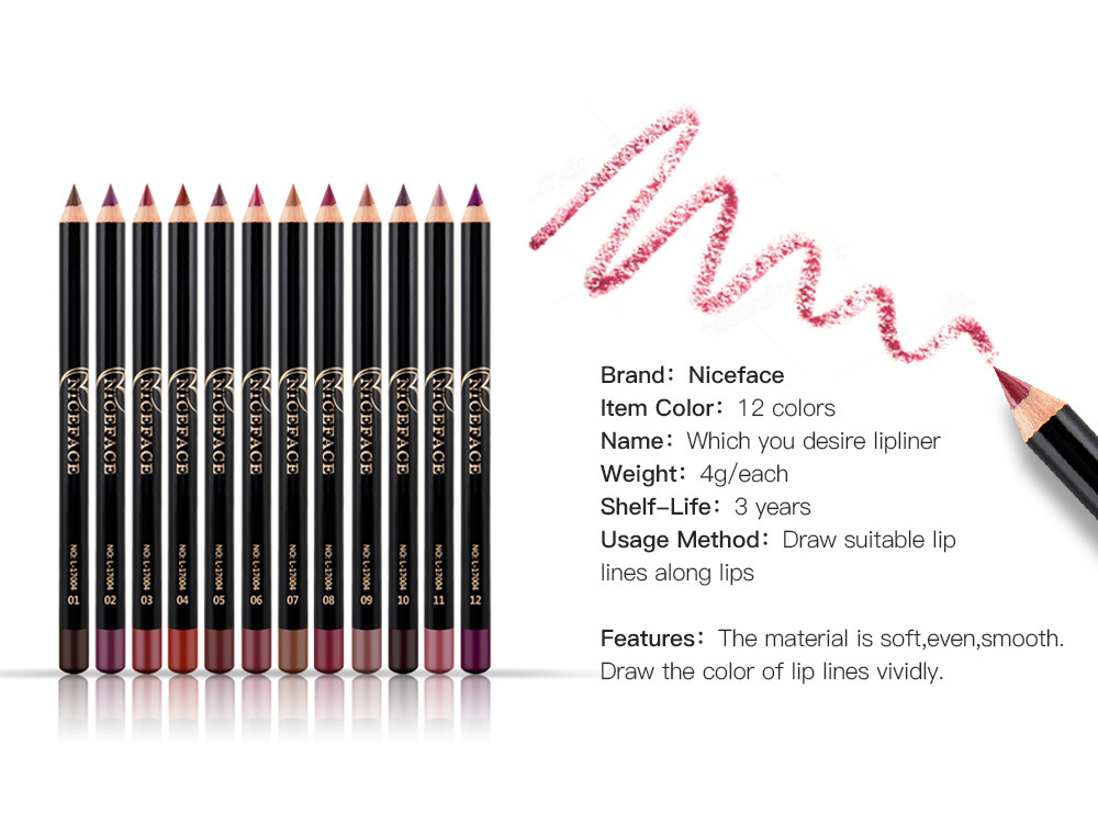12 Colors Matte Lipstick Sexy Nude Lip Liner Waterproof Long Lasting Pigment Lipliner Lipstick Pencil Lips Tools 9