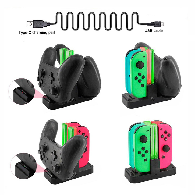 Nintend Switch NS Joy-Con & Dual Pro Controller Charger Nintendos USB Charging Dock Station with LED Indicator for Nintendo NX 2