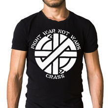Crass Fight War Not Wars Logo T-Shirt Pop Cotton Man Tee Cot