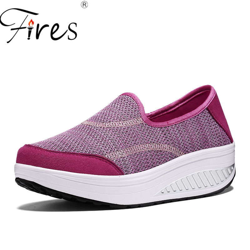 Fires Women's Shoes Casual Sport Fashion Shoes Walking Flats Height Increasing Women Loafers Breathable Mesh Swing Wedges Shoes hosteven women shoes casual sport flats fashion shoes walking spring summer loafers breathable air mesh walking shoes