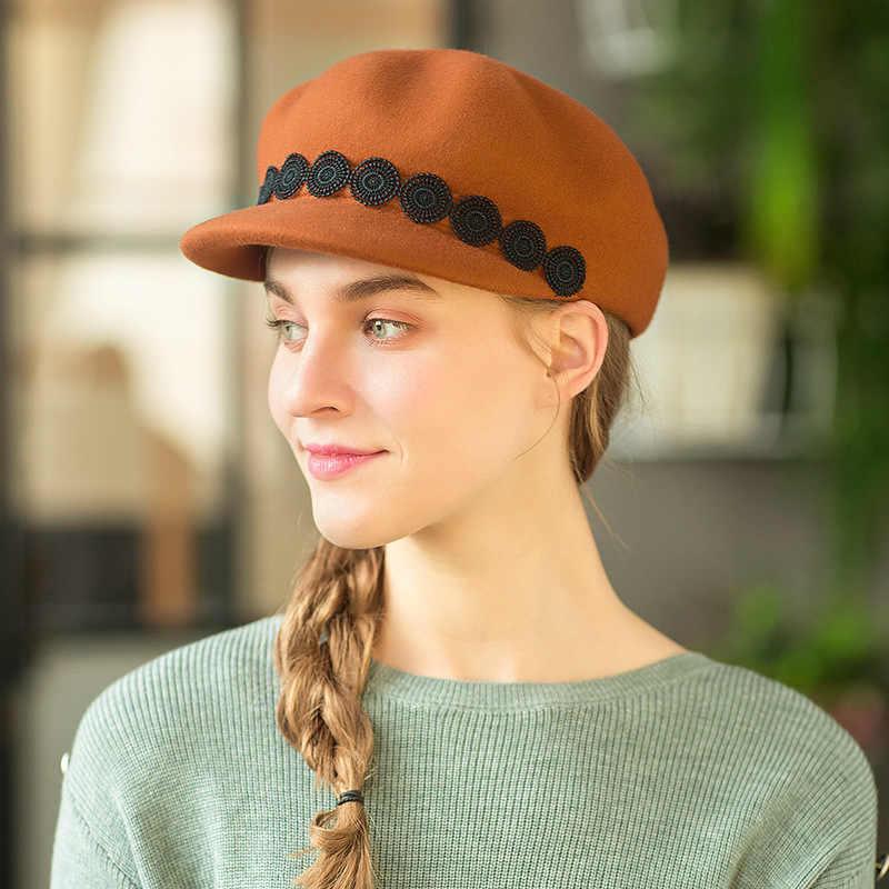 Musim Semi Musim Dingin Wanita Perancis Baret Duckbill Cap Wol Merasa Topi Musim Gugur Retro Elegan Wanita Topi Tukang Koran Topi Hangat Abu-abu Hitam unta