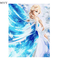 Free Shipping Ice Princes Oil Painting By Numbers Abstract DIY Hand Painted Digital Picture On Wall