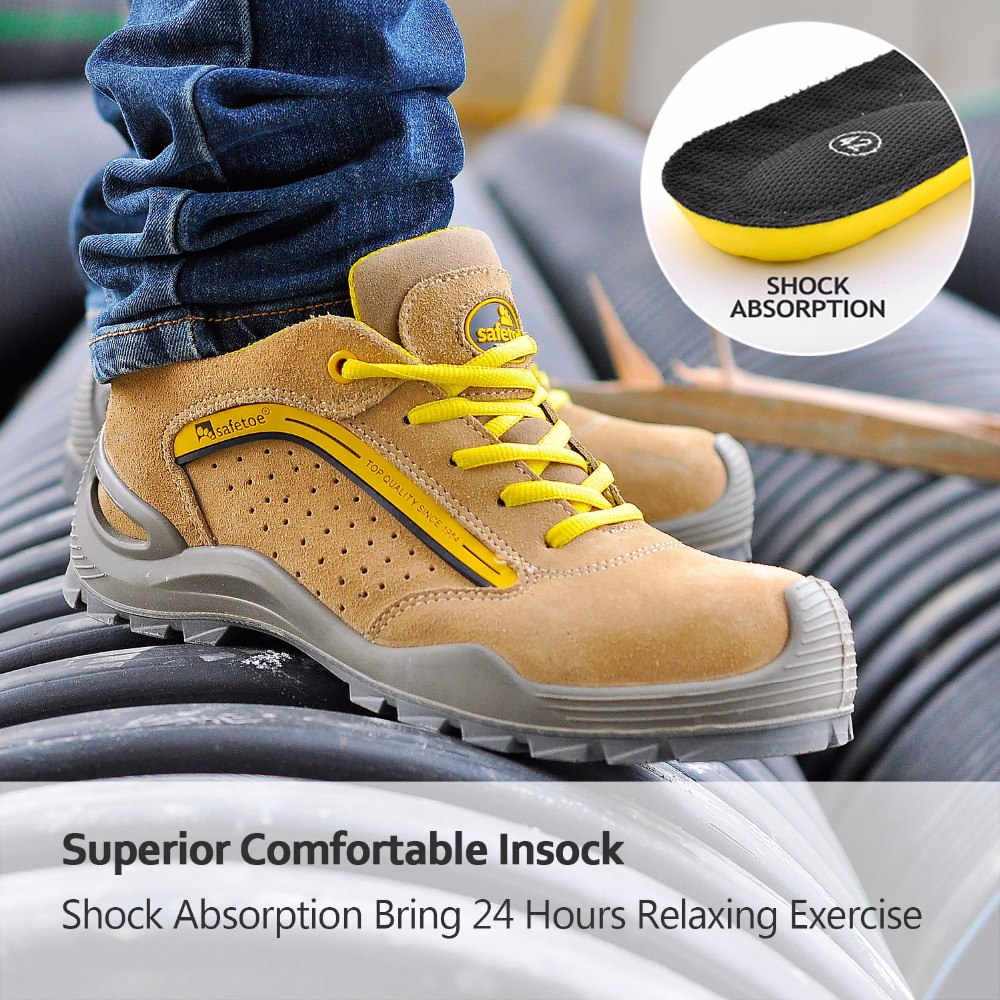 c2fce1867b05 Safetoe Summer Breathable Safety Shoes Steel Toe Casual Leather Work Shoes  men Safety Boots Work Boots Mens Steel Toe Shoes-in Work   Safety Boots  from ...