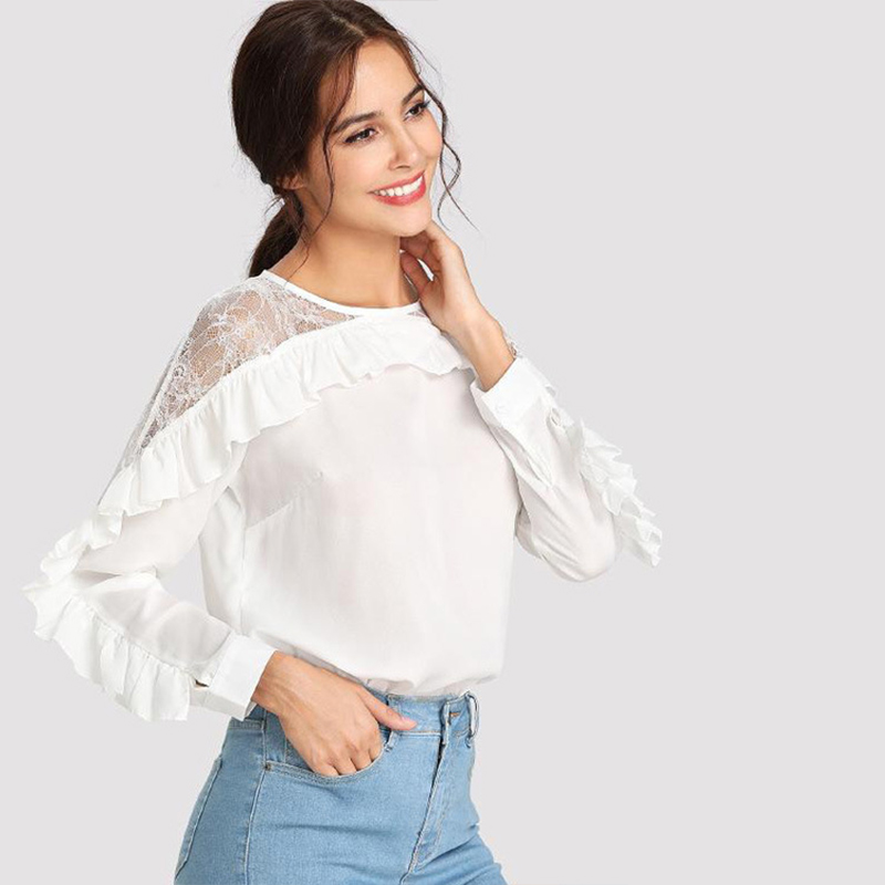 Women Casual Lace Blouses Lady Splicing Pleated Ruffled Long Sleeve Lace Chiffon Shirt Women Blouses New in Blouses amp Shirts from Women 39 s Clothing
