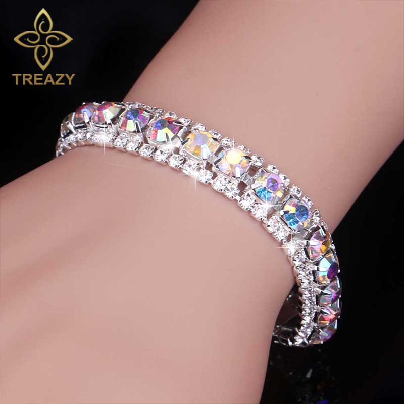 TREAZY font b Luxury b font Crystal Bracelets For Women Multicolor Rhinestone Bracelets Bangles Femme Bridal