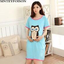 Summer Expectant Mother Feeding Dress Pregnant Women Pajamas with Short Sleeves Thin Cartoon Owl Cotton Nursing Nightgown