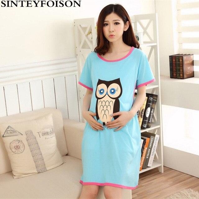 b3c3854b96 Summer Expectant Mother Feeding Dress Pregnant Women Pajamas with Short  Sleeves Thin Cartoon Owl Cotton Nursing Nightgown