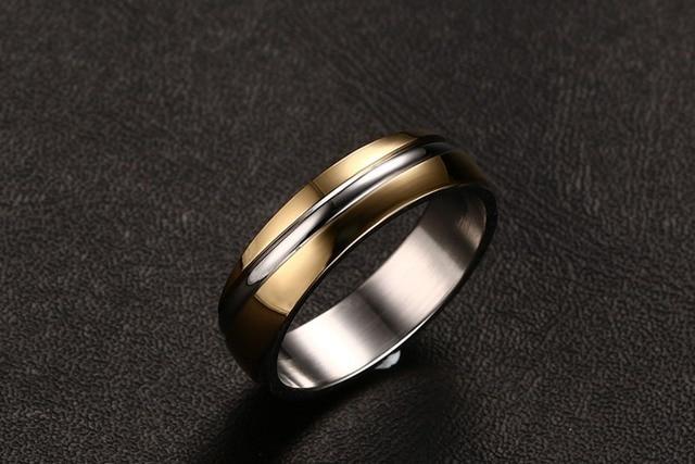 NIDIN 3 color wedding ring for men rings for women 316 stainless steel ring black  gold-color