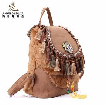 women Bohemian style hippie Boho vintage backpack ladies canvas tassel fur shoulder bag winter Bag ethnic bags knapsack