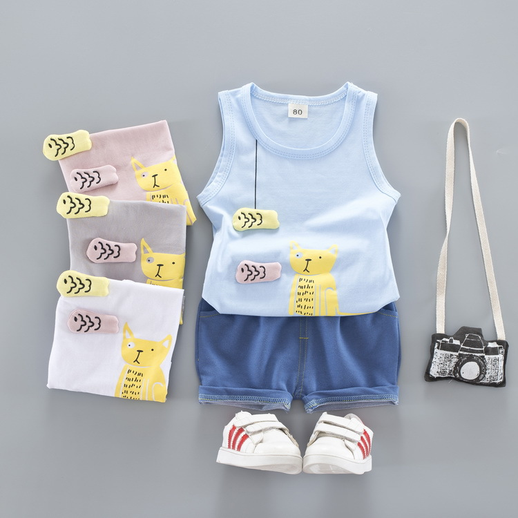 Toddler Baby Boys Children Clothing Sets Sleeveless Sports Tracksuit For Summer Beach Suit Boys Kids Outerwear Clothes Sets