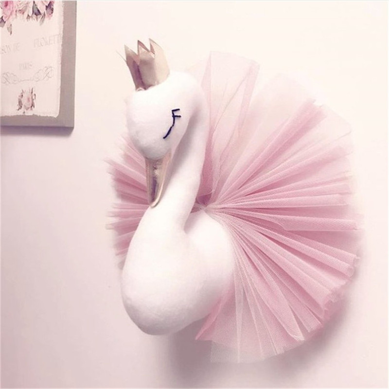 Cute-Golden-Crown-Swan-Wall-DecorationDoll-Pink-Princess-Swan-Stuffed-Toys-Animal-Head-Wall-Hanging-for (4)