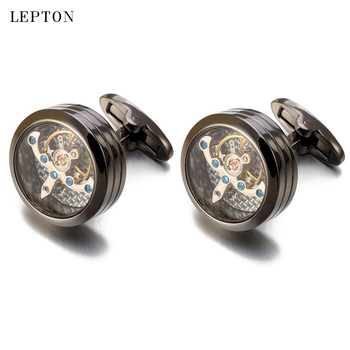 High quality Movement Tourbillon Cufflinks For Mens Wedding Groom Mechanical Watch Steampunk Gear Cufflinks Relojes Gemelos