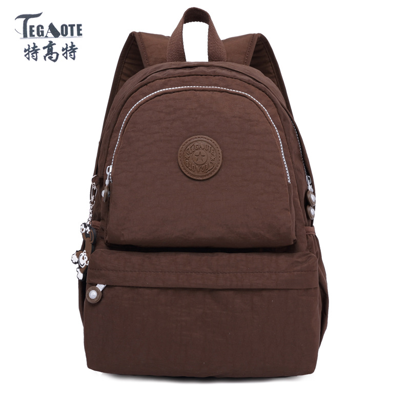 TEGAOTE brand solid Nylon Waterproof School Backpack for Girls Feminina Mochila Mujer Backpack Female Casual Multifunction
