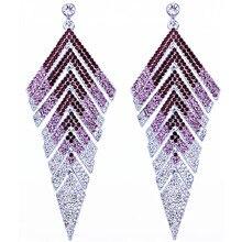 Marca Projeto de Cristal Cheio de Strass Big Triângulo Brincos Charme Senhoras Vestido Longo Brincos para As Mulheres Acessórios De Noiva
