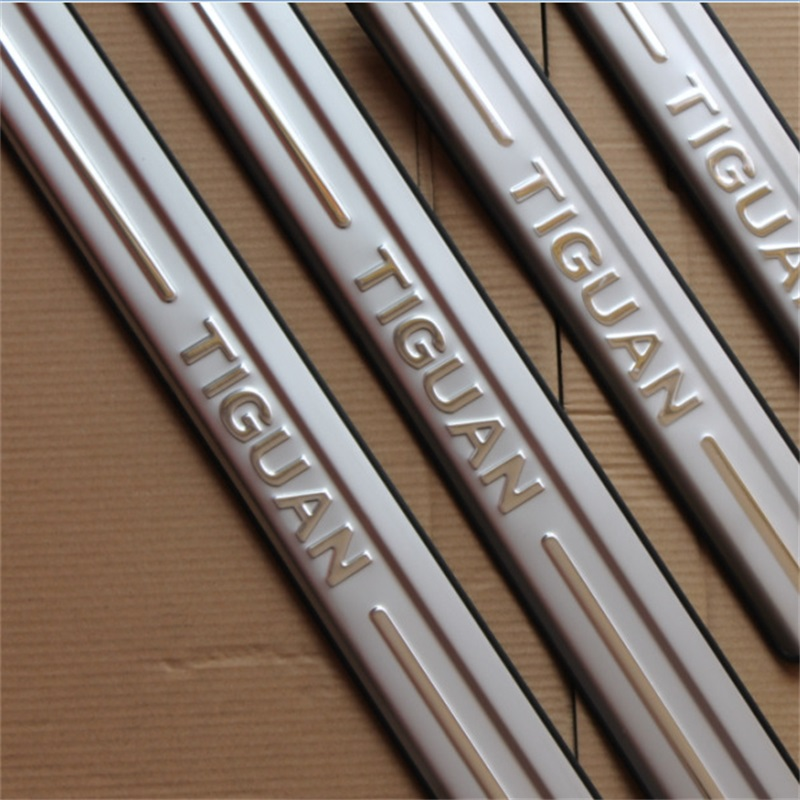 For Volkswagen VW TIGUAN 2010 2013 2014 2015 Stainless Steel Scuff Plate Door Sill Threshold Strip Welcome Pedal Car Styling