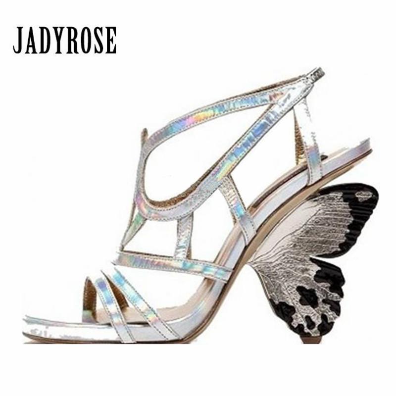 Jady Rose 2018 New Summer Women Sandals Hollow Out Gladiator Shoes Woman Butterfly High Heels Prom Dress Shoes Women Pumps jady rose 2018 new rivets studded summer women sandals suede lace up hollow out gladiator sandals female casual beach shoes