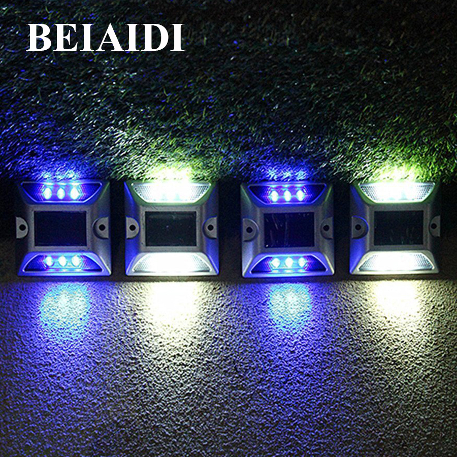 BEIAIDI 8PCS Solar Dock Path Road Light 6 LED Outdoor Security Warning Step Light Garden Driveway