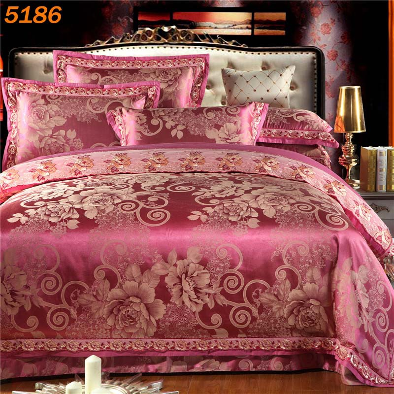 Online Shop Crimson silk bed set red pink bedspread stain silk bedding set  big flower bedclothes jacquard linens ruffles bedset 5167   Aliexpress  Mobile. Online Shop Crimson silk bed set red pink bedspread stain silk