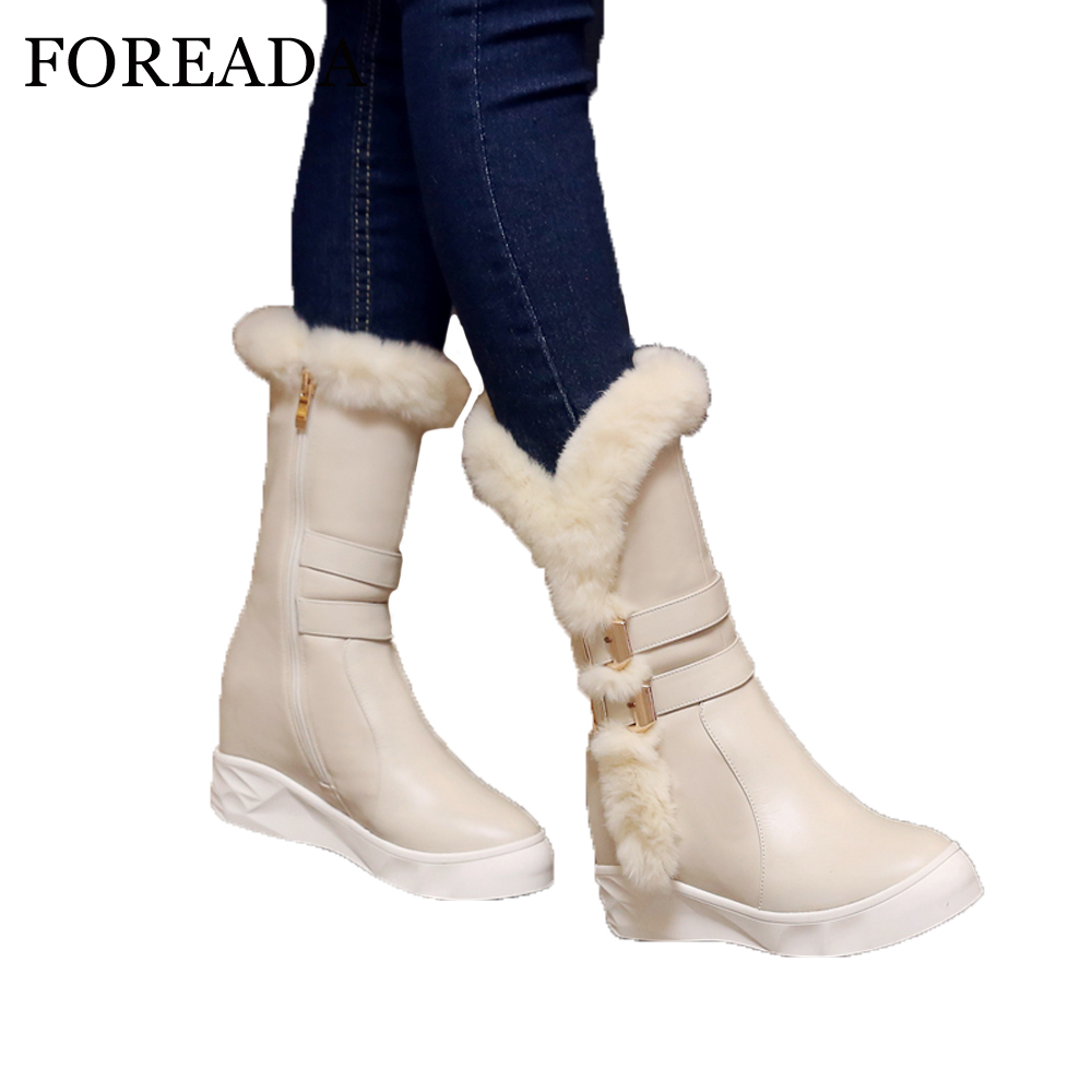 84d22cec993 FOREADA Genuine Leather Snow Boots Winter 2018 Real Fur Women Mid-Calf  Boots Plush Buckle. артикул  32837274415