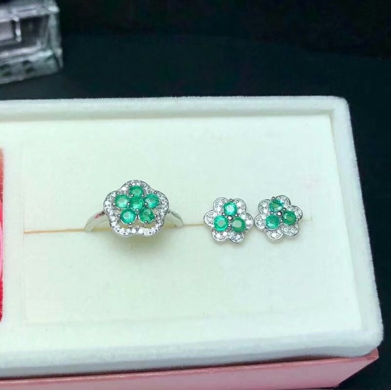 SHILOVEM 925 sterling silver Natural Emerald rings stud earrings classic fine Jewelry wedding women new wholesale btz030305agml shilovem 925 sterling silver emerald stud earrings classic fine jewelry women wedding women gift wholesale jce040601agml