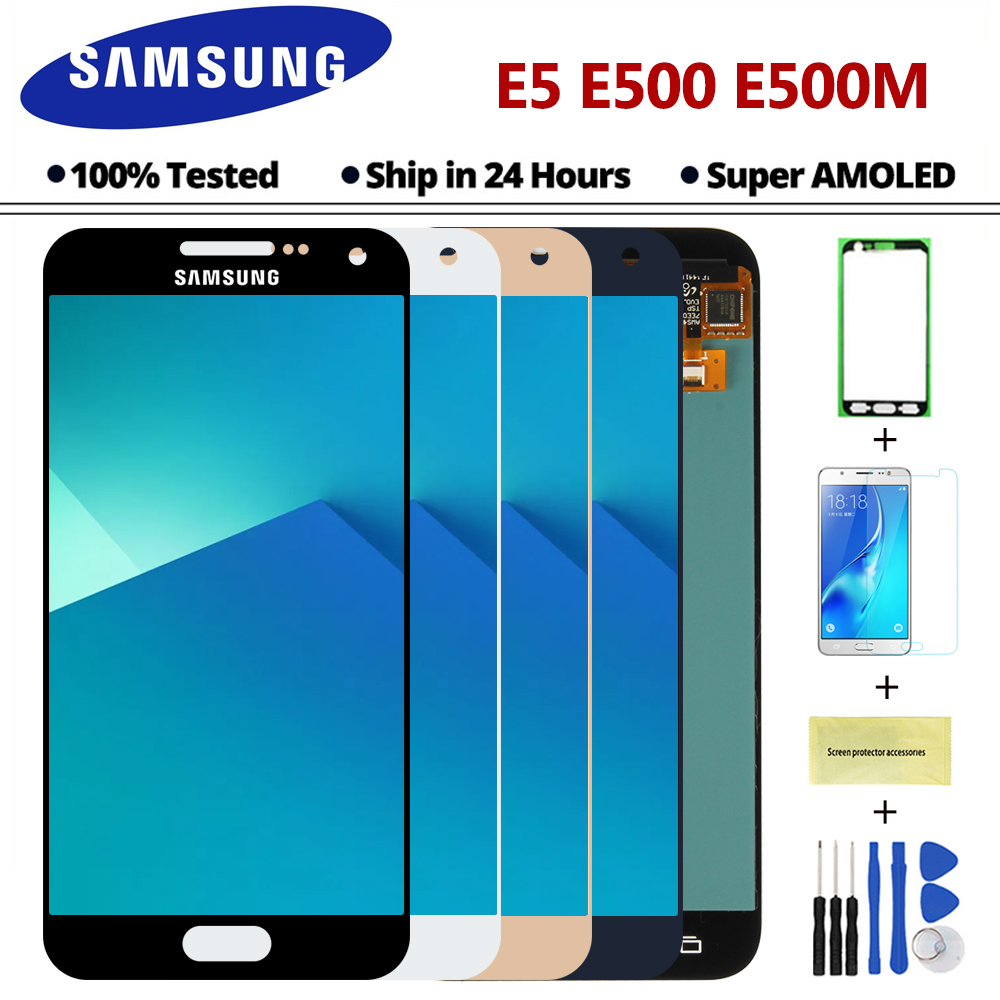 5 0 Super AMOLED E5 Display For Samsung Galaxy E5 E500 E500F E500H E500M LCD Display