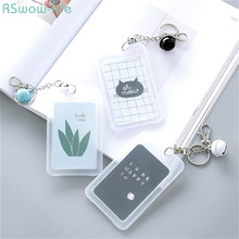 2pcs Random Double-Sided Transparent Bus Card Set Keyboard Female Creative Cartoon Cute Cactus Sleeve With Bell