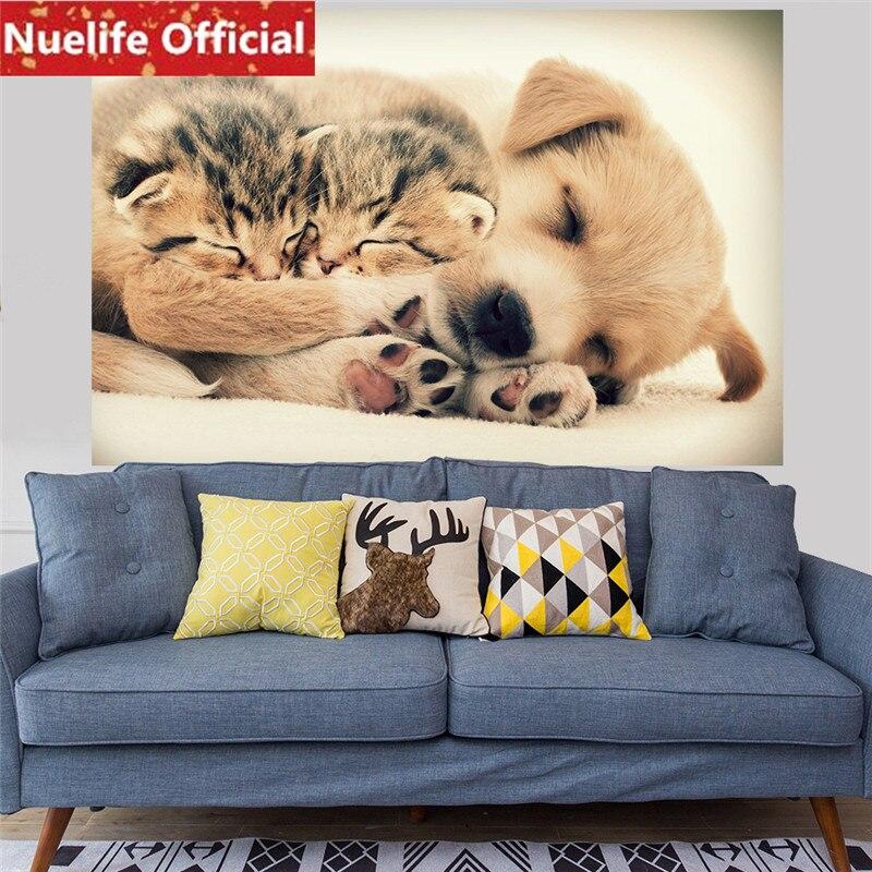176x58cmx2pcs dessin animé chat et chien motif sticker mural enfants chambre salon TV canapé fond autocollant mural