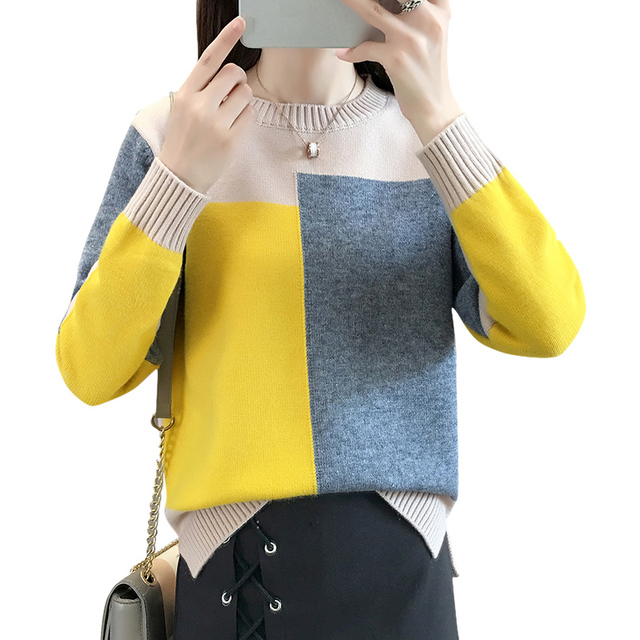 Candy Color Pullover Loose O-Neck Patchwork Sweaters