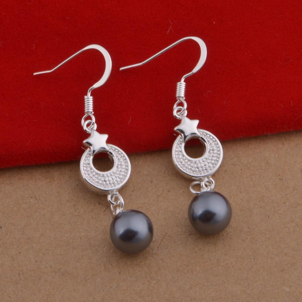 Hot Sell Sterling Silver Jewelry Drop Earrings Black Pink