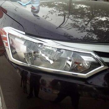 도요타 vios 세단 2014-2016 abs 크롬 프런트 헤드 라이트 램프 프레임 장식 커버 트림 자동차 액세서리