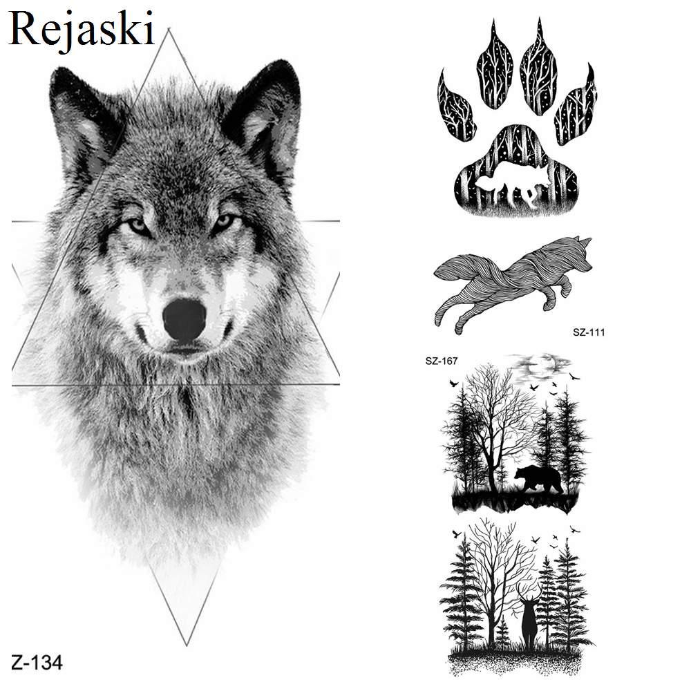Us 047 Rejaski Geometric Line Wolf Tattoo Stickers Women Body Art Drawing Temporary Tattoo Men Fierce Arm Fake Tatoo Jungle Small Paste In