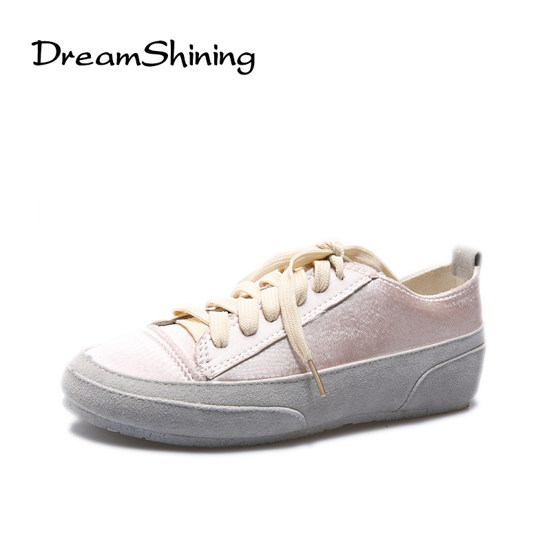 DreamShining New Frazzle Vintage Gloss Flat Oxford Shoes For Women Flats Designer Casual Canvas Shoes Lace Up Ladies Shoes