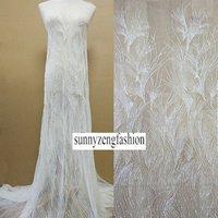 Heavy Beading Luxury Evening Bridal Wedding Dress Lace Fabric Pearls Beading Design