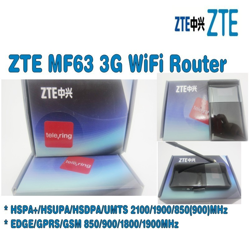 Lot of 5pcs Unlocked ZTE MF63 3g wireless router hspa mobile hotspot plus with 3g antenna