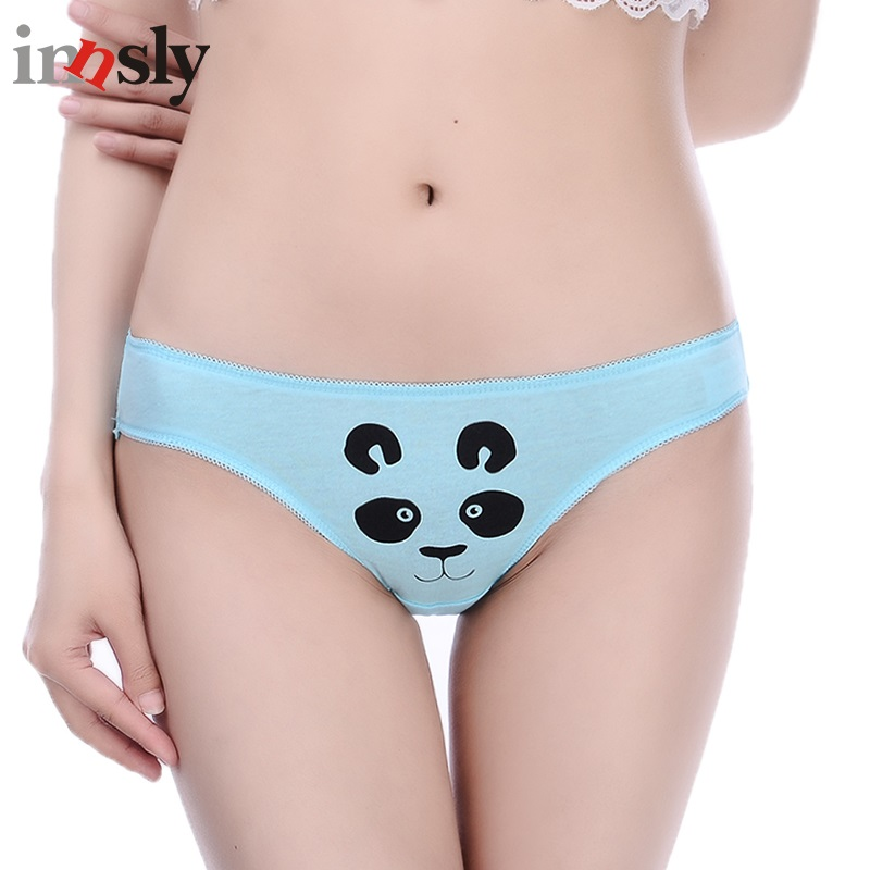 Buy Innsly Women briefs Low-Rise Panties Female Sexy Panties Lace Ice Silk Cotton Crotch lingeries Women Underwear Animal Print