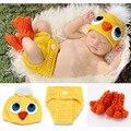 Accesorios para bebés pato recién nacido traje de algodón hilo sombrero + la cubierta del pañal + calcetines hechos a mano de la fotografía trajes baby shower regalo