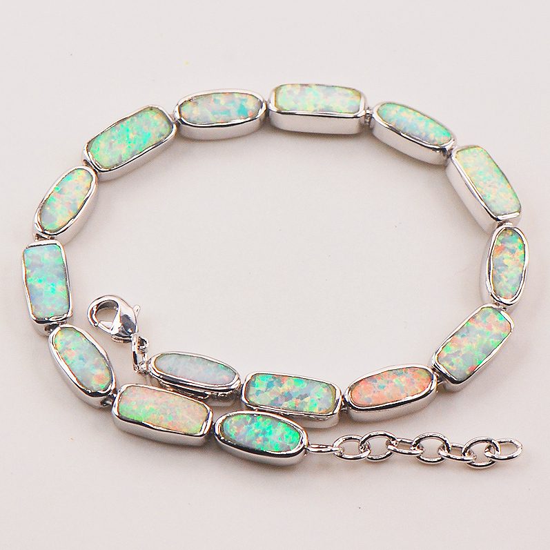 "White Fire Opal 925 Sterling Silver Bracelet  P90 8""  Free Ship High quantity Factory price"