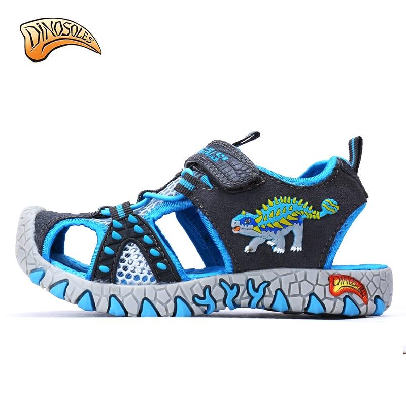 0102aae9e73c8 Dinoskulls no led Kids Children Beach Boys Shoes Sandals Summer 2018 Toddler  Sandals Leather Shoes Dinosaur Summer Shoes 27 34-in Sandals from Mother    Kids ...