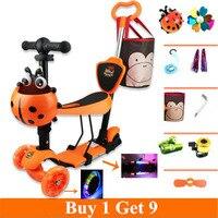 5 in 1 dreirad roller baby mit justieren griff bar und sitz PU leuchten räder Kaufen 1 erhalten 9  4 farbe für verfügbar