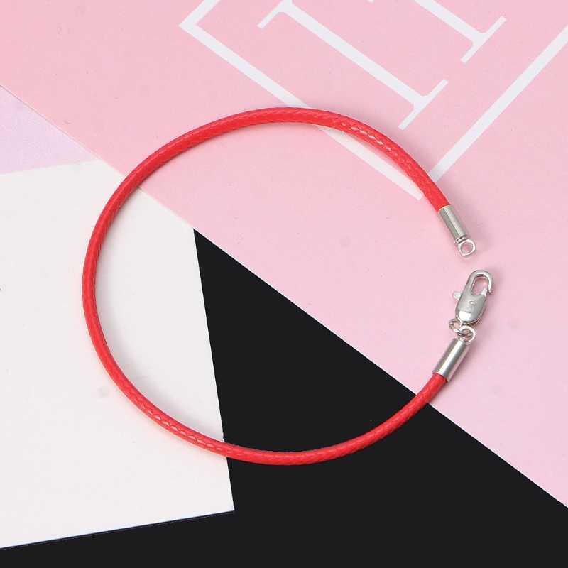 Klasyczna moda czarna skórzana bransoletka sznurkowa czerwonej linii linka jubilerska czerwona bransoletka damska bransoletki homara