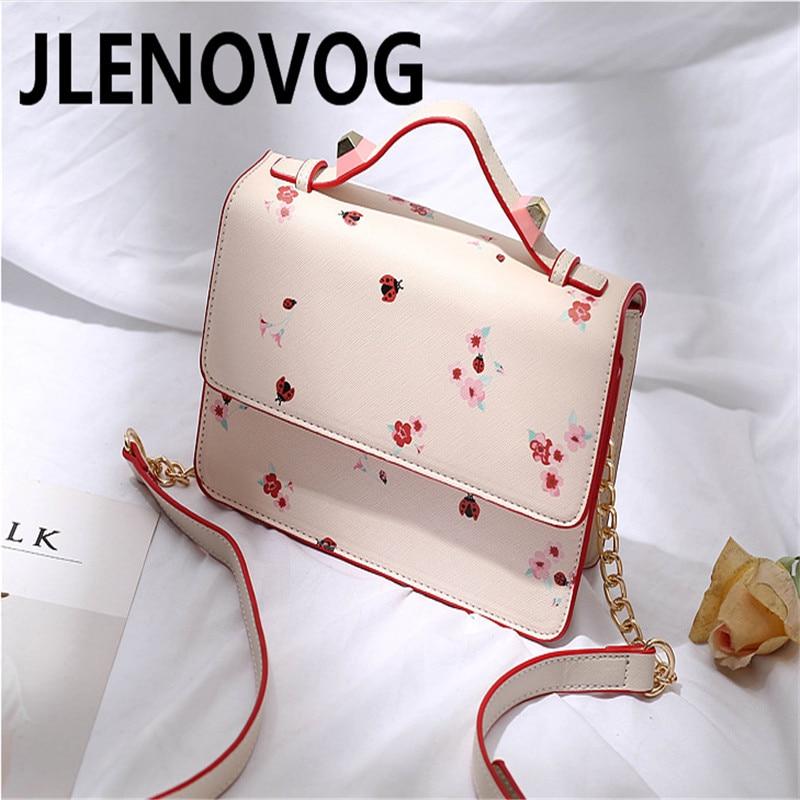 Single shoulder diagonal portable new simple pink print bag trend casual small square women's handbag bag
