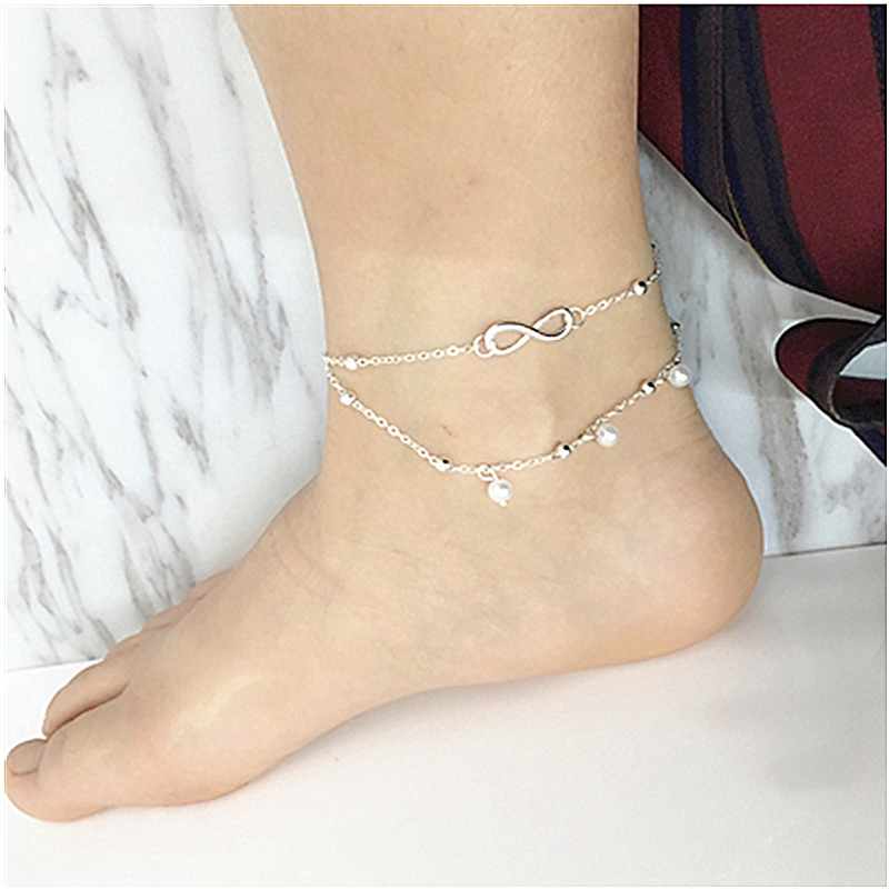Anklets Hot Selling Double Layer Silver-color Star Pendant Hot Simple Ankle Chain For Woman Anklets Foot Jewelry Leg Jewelry Ankle Jewelry Sets & More