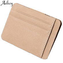 Aelicy 2018 Hot Fashion Men Ultrathin 0.3cm Credit Wallet Leather Case Cover for Car Driver's License ID Card student card Purse(China)