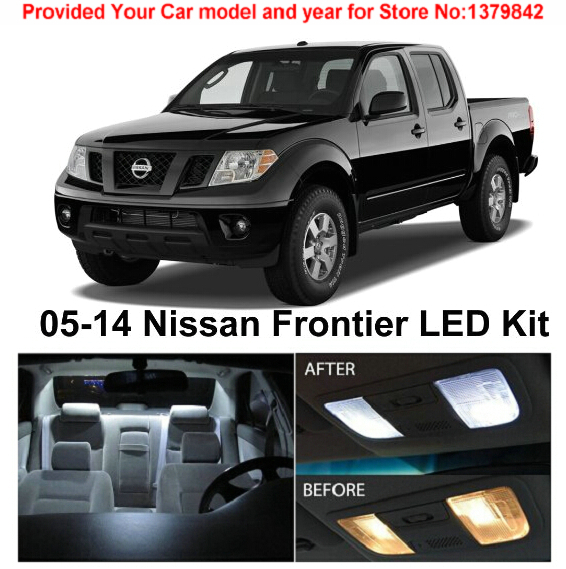 Free Shipping 5Pcs/Lot car-styling Xenon White Premium Package Kit LED Interior Lights For Nissan Frontier 2005-2014
