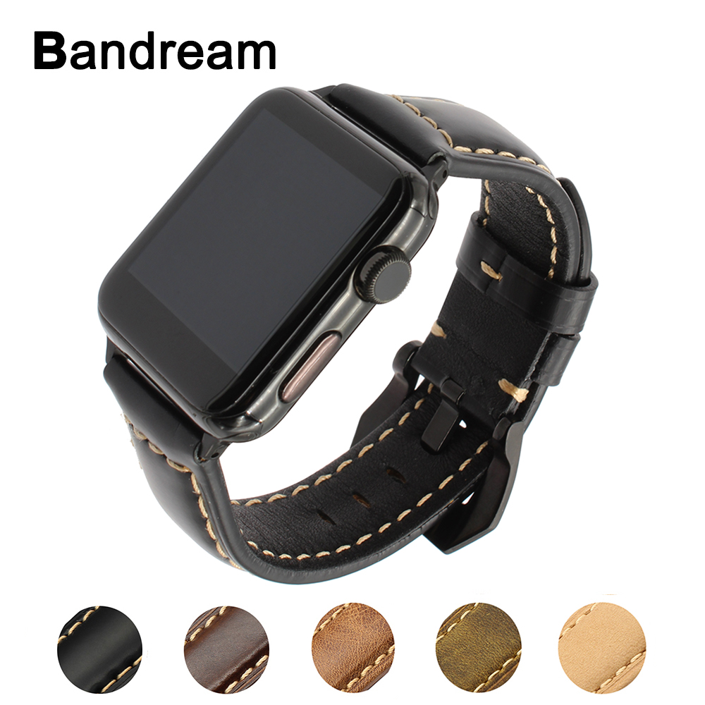 Italy Oil Wax Genuine Leather Watchband for iWatch Apple Watch 38mm 42mm Series 1 2 3 Steel Buckle Band Wrist Strap Black Brown kakapi crocodile skin genuine leather watchband with connector for apple watch 38mm series 2 series 1 pink
