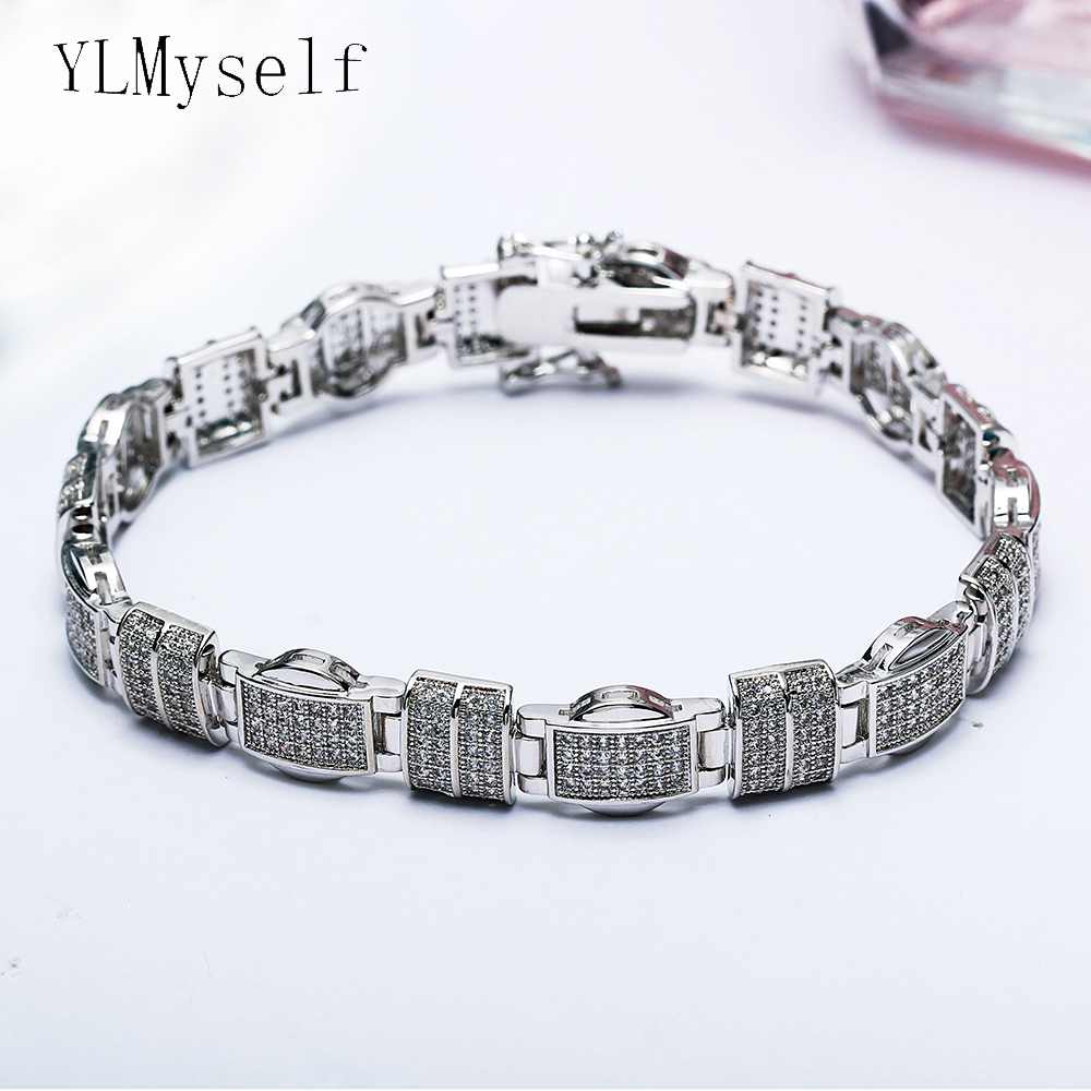 20.5cm long rectangle Bracelets & Bangles setting white tiny crystal silver plate large party Bracelet for women stylish golden hollow rounded rectangle hasp bracelet for women